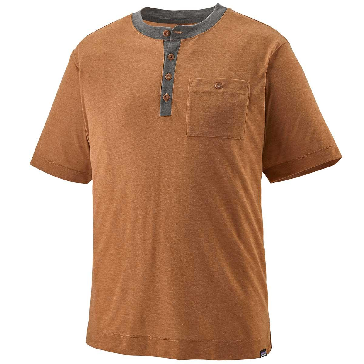 Patagonia men's Capilene Cool Trail Bike Henley in Wood Brown front view