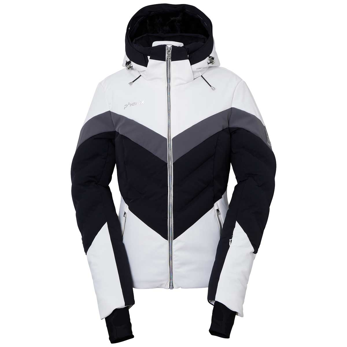 Phenix women's Emerald Hybrid Down Jacket in Off White and Black main view