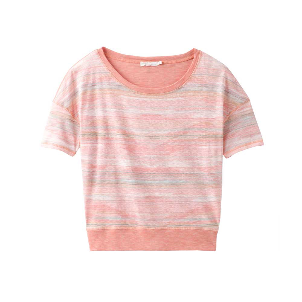 Prana women's Lurie top in Peach Bonita, or light pink with subtle stripes