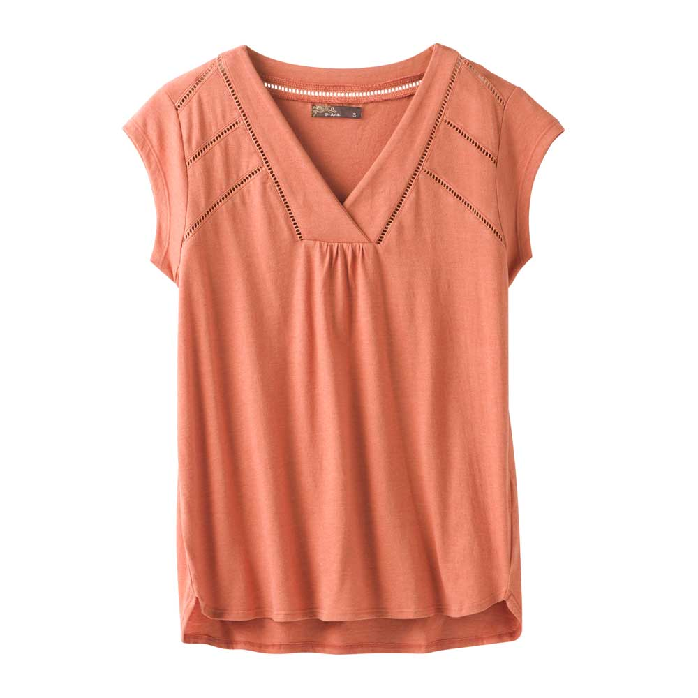 Prana women's Novelle top in Toasted Terracotta, or burnt red