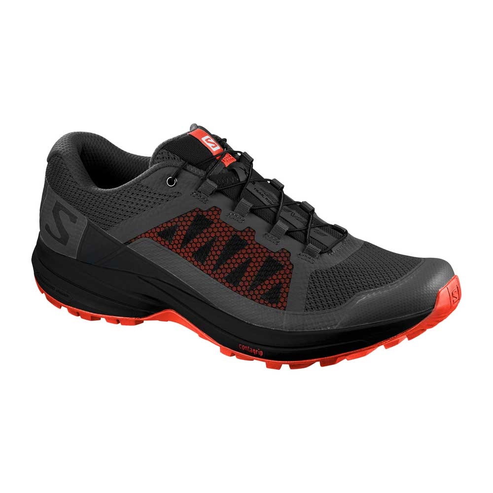 Salomon men's XA Elevate trail running shoe in Magnet Black Cherry Tomato, or black with red accents