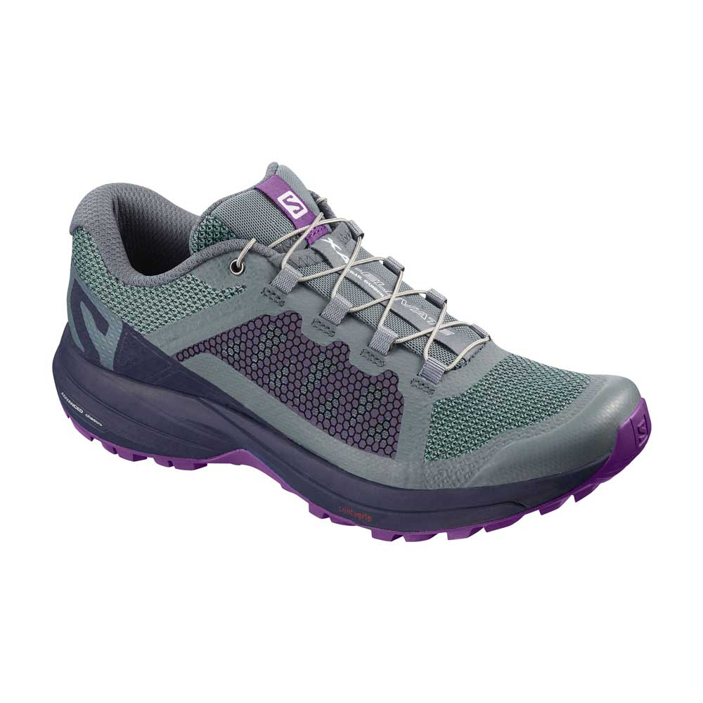 Salomon women's XA Elevate trail runnin gshoe in Stormy Weather- Evening Blue- Purple Magic, or light purple