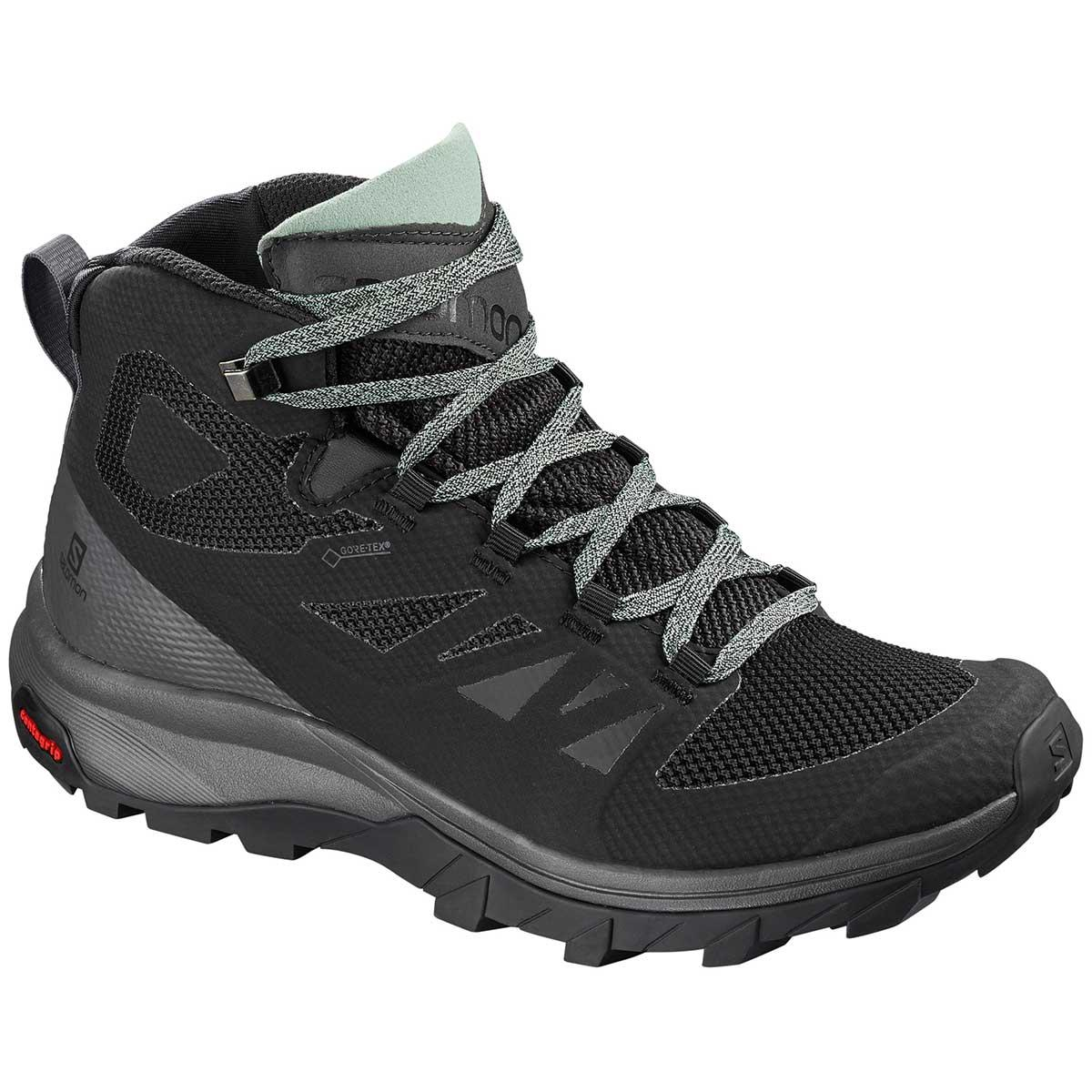 Salomon Outline Mid GTX W in Black and Magnet and Green