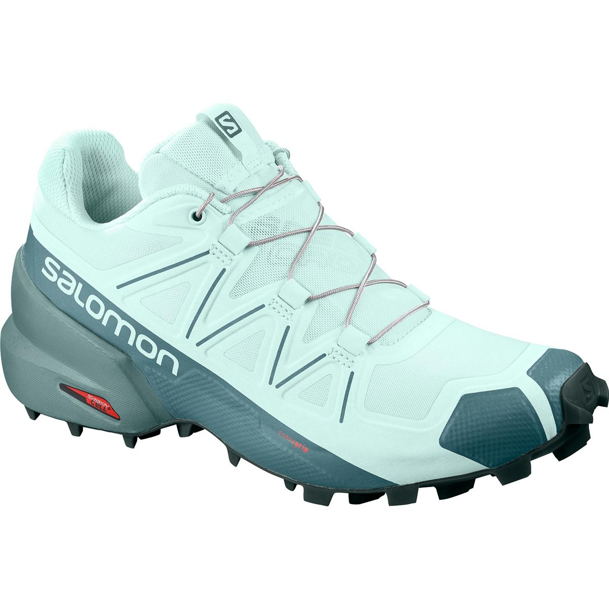 Salomon women's Speedcross 5 Trail Run Shoe in Icy Morn and Hydro main view