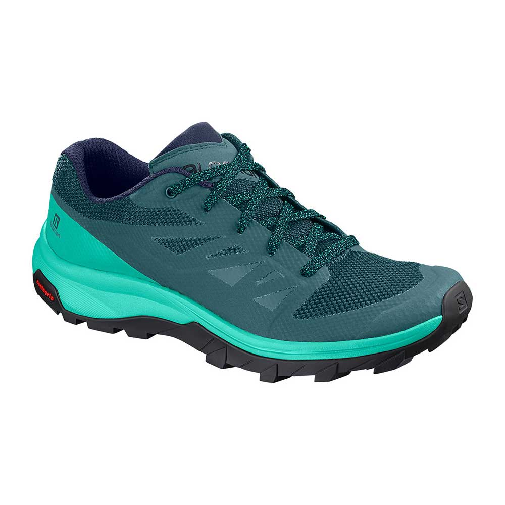 Salomon women's OUTline Hiking Shoe in Hydro-Atlantis-Medieval Blue, or dark teal with teal accents