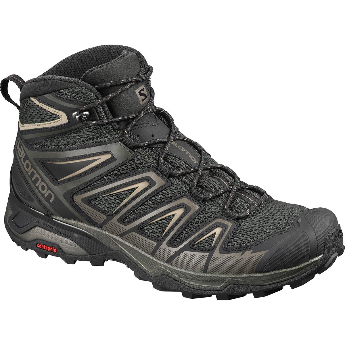 Salomon men's X Ultra Mid 3 Aero Hiking Shoe in Peat and Bungee Cord main view