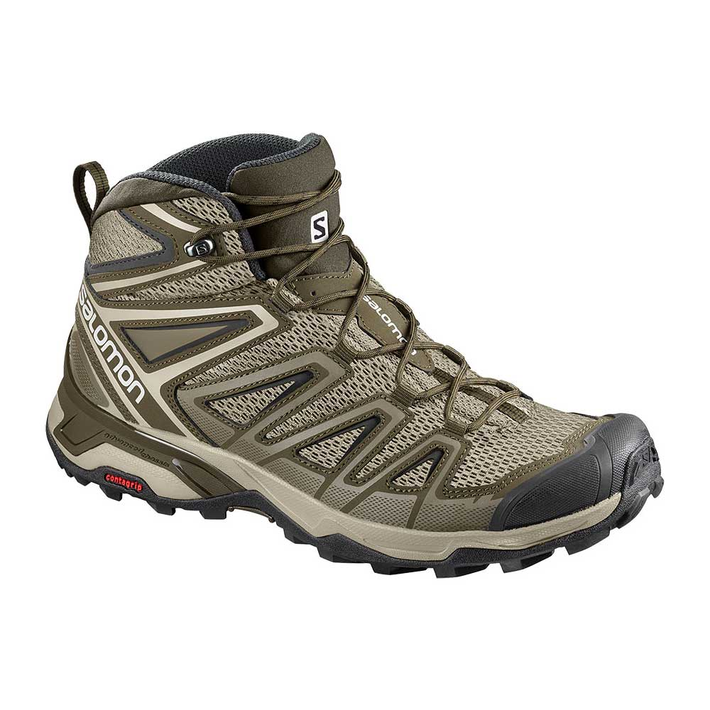 Salomon men's X Ultra Mid 3 Aero Hiking Shoe in Vintage Kaki-Wren-Black, or light tan with brown accents
