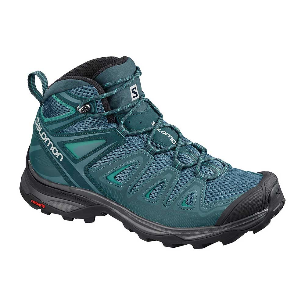 Salomon women's X Ultra Mid 3 Aero Hiking Shoe in Mallard Blue-Reflecting Pond-Tropical Green, or blue with teal accents