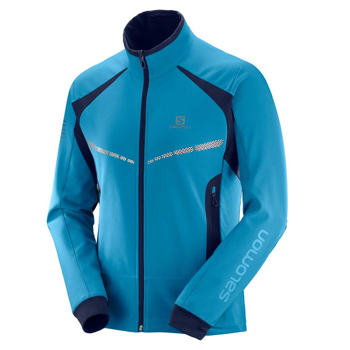 Salomon Men's RS Warm Softshell Jacket in Fjord Blue and Night Sky