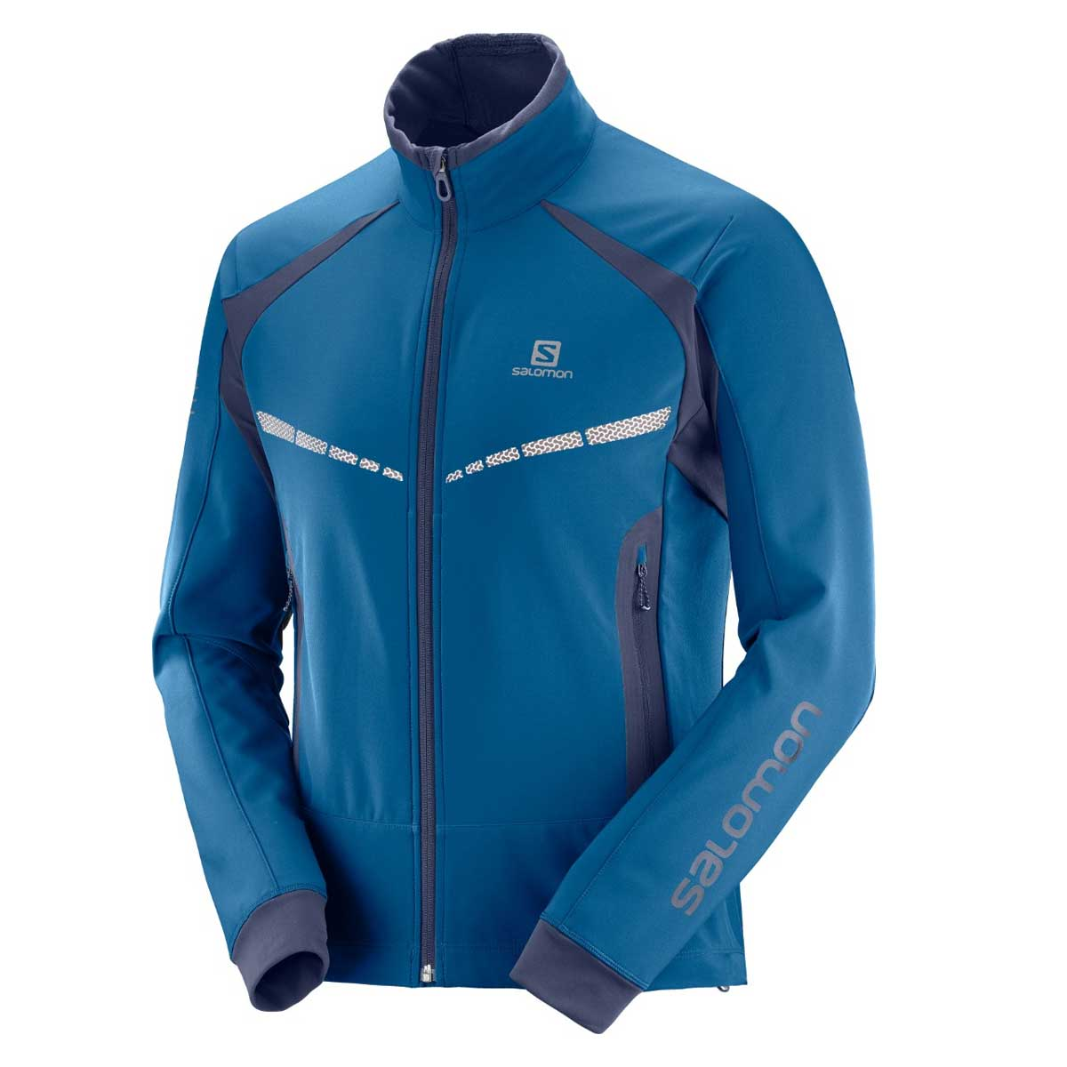 Salomon Men's RS Warm Softshell Jacket in Poseidon and Night Sky