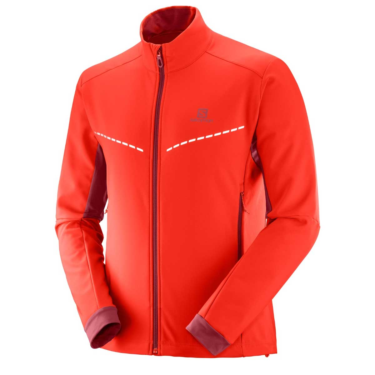 Salomon Men's Agile Softshell Jacket in Fiery Red and Biking Red