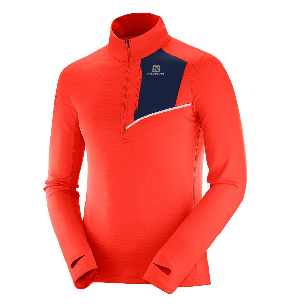 Salomon Men's Fast Wing Midlayer Top in Fiery Red and Night Sky