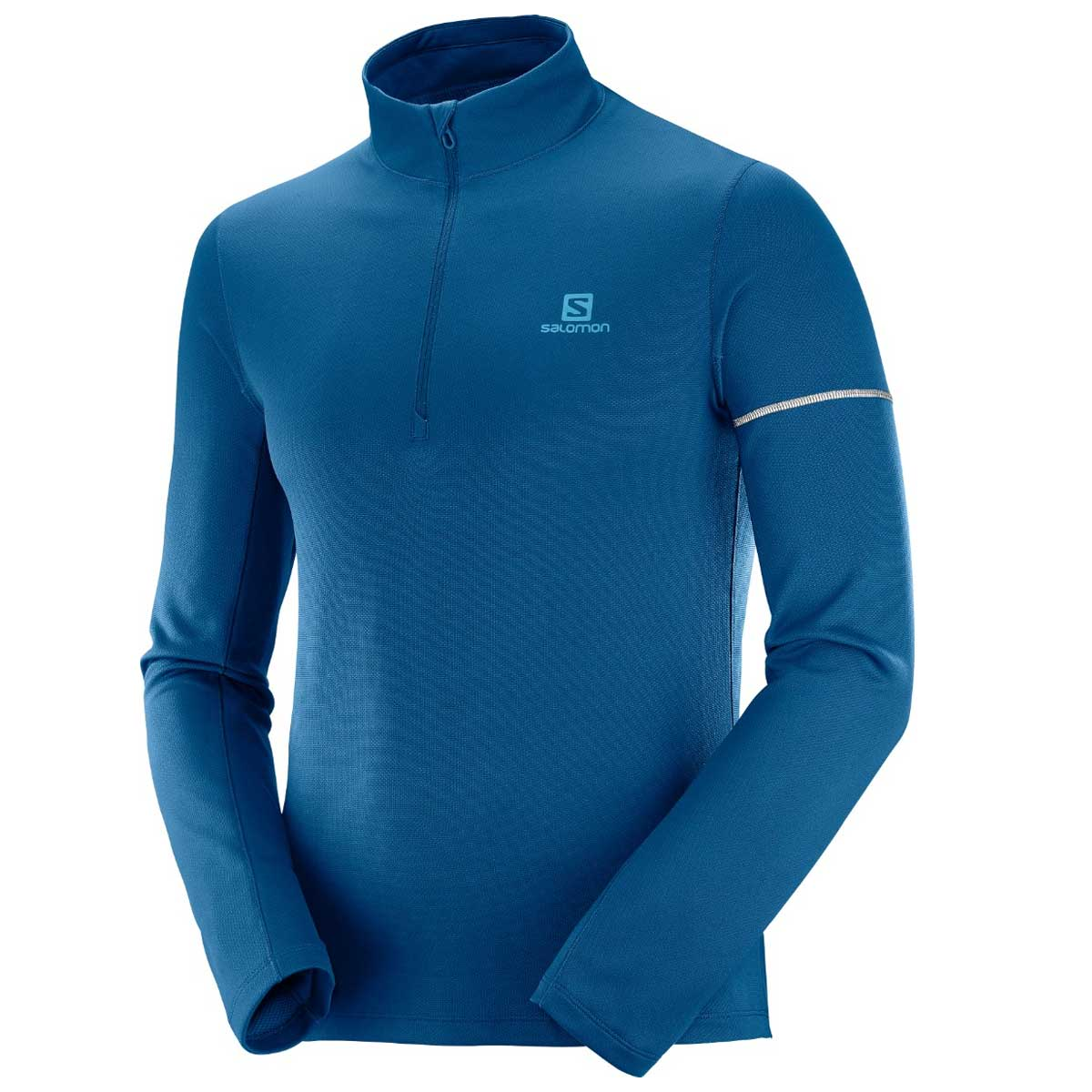 Salomon Men's Agile 1/2 Zip Midlayer Top in Poseidon and Lyons Blue