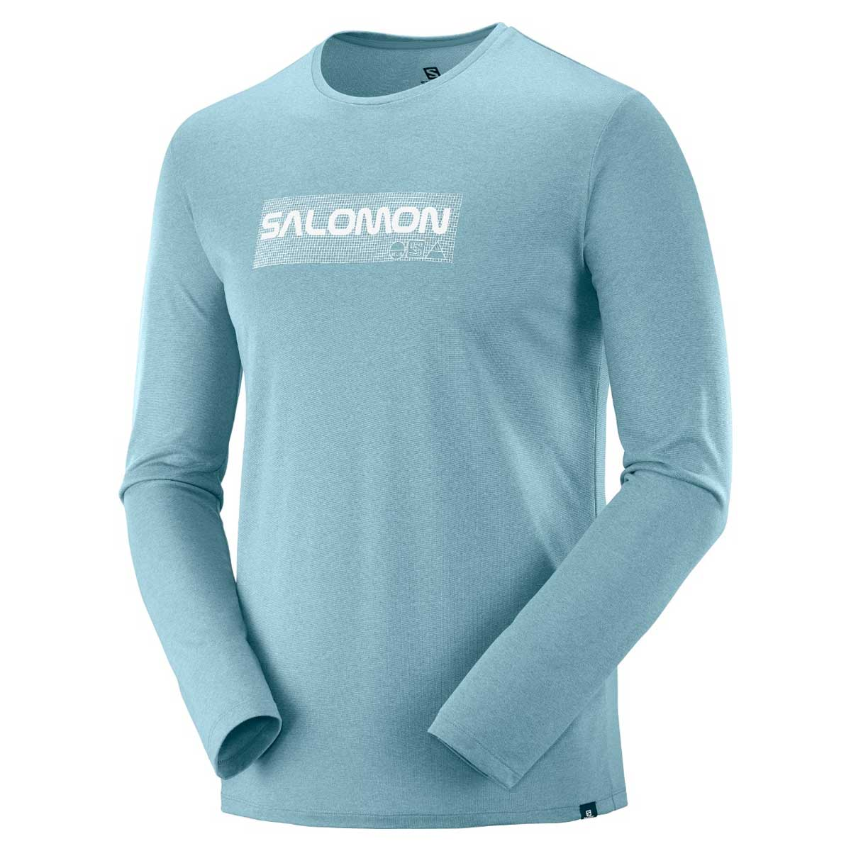 Salomon Men's Agile Graphic Long Sleeve Tee in Smoke Blue and Stone Blue