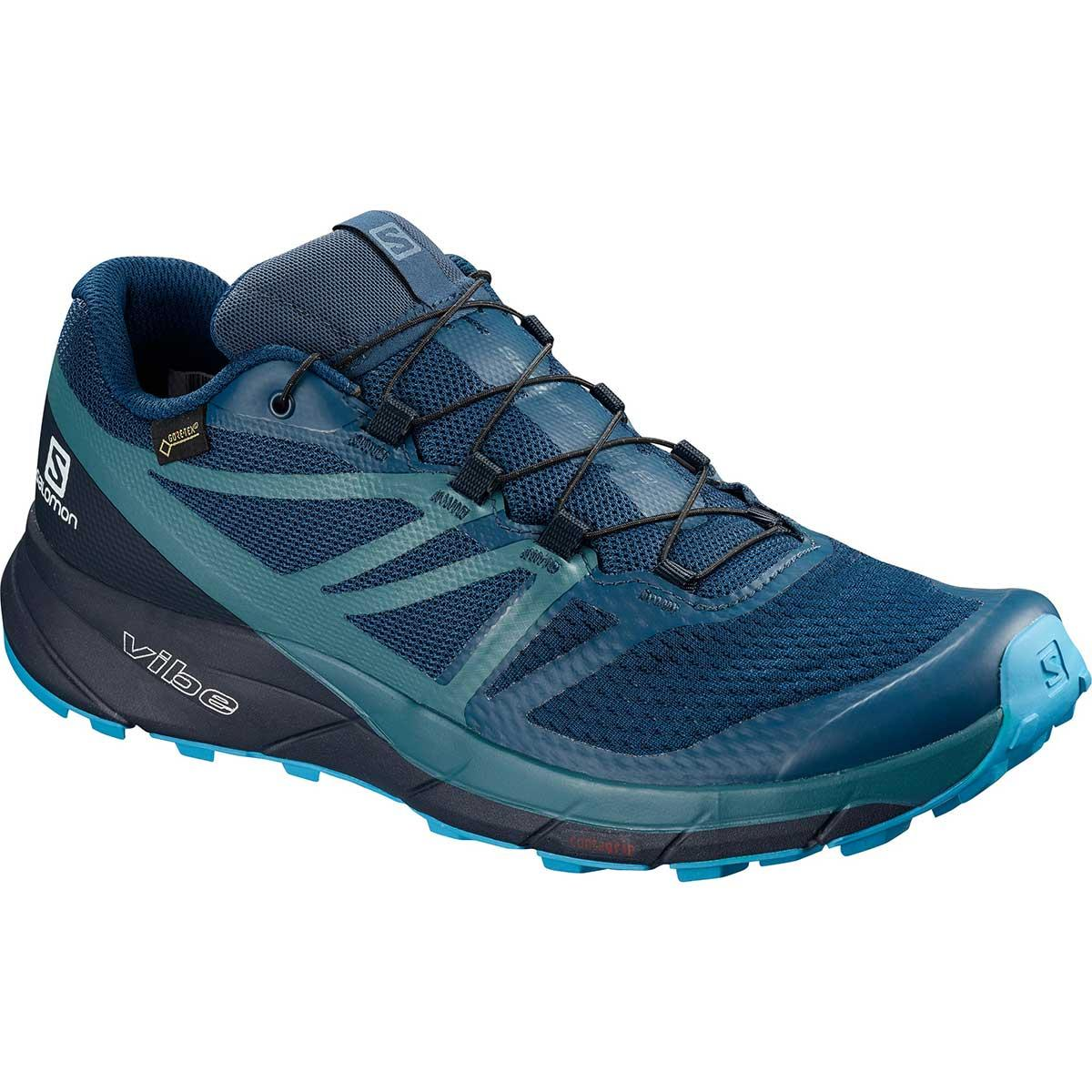 Salomon Sense Ride 2 GTX Invisible Fit in Poseidon and Navy Blazer and Hawaiian Ocean