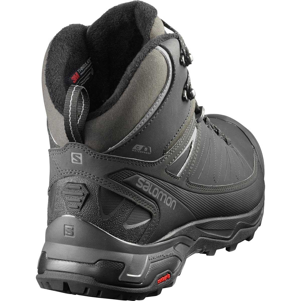 Rear view of Salomon X Ultra Mid Winter CS WP in Black and Phantom