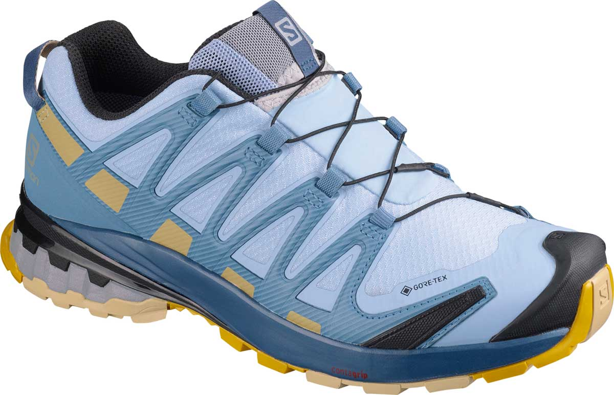 Salomon Women's XA PRO 3D V8 GTX Trail Running Shoe in Kentucky Blue and Dark Denim and Pale Khaki