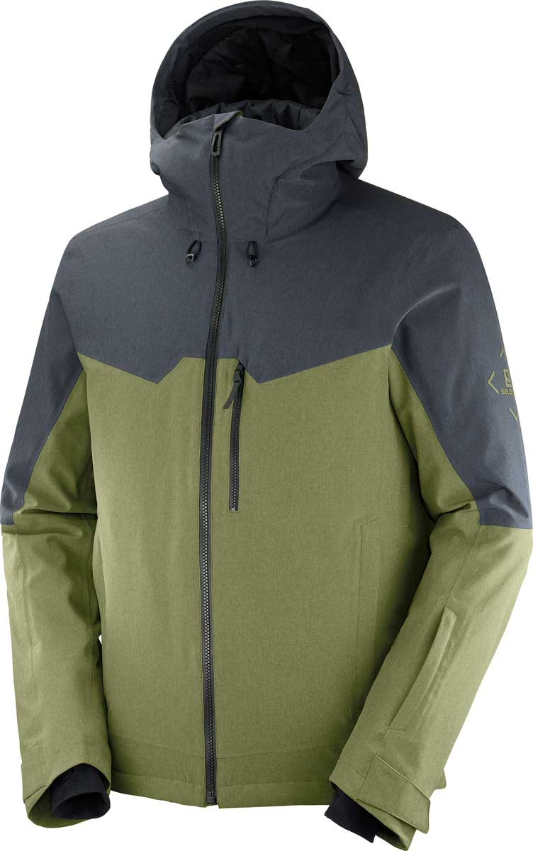 Salomon Men's Untracked Jacket in Martini Olive and Ebony Heather