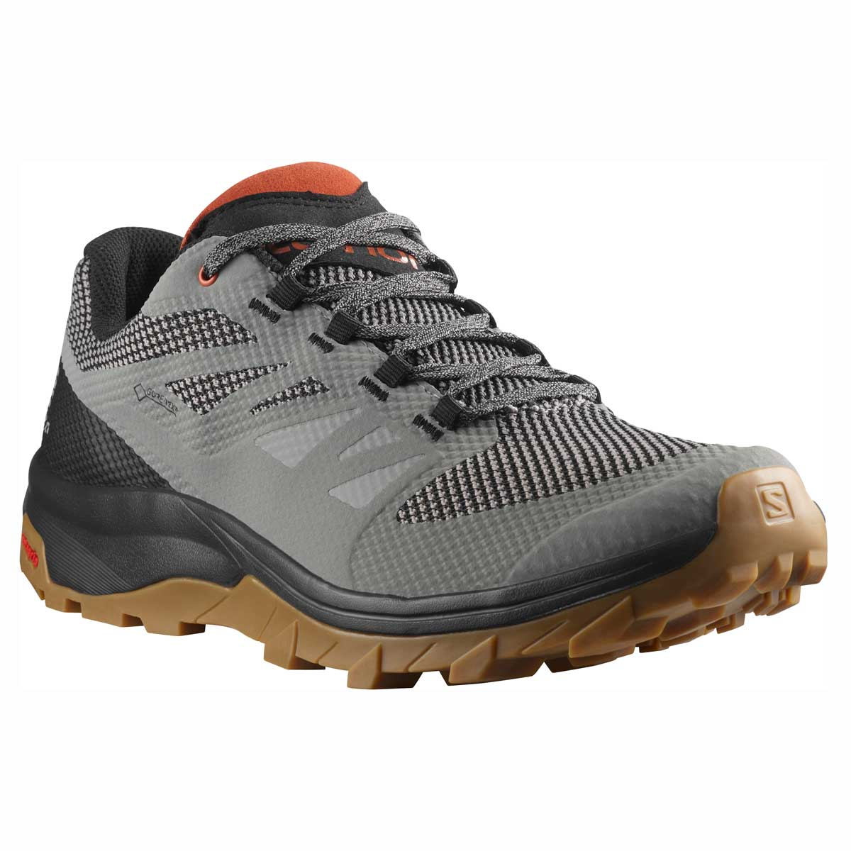Salomon men's Outline GTX hiking shoe in Frost Grey and Black and Burnt Brick