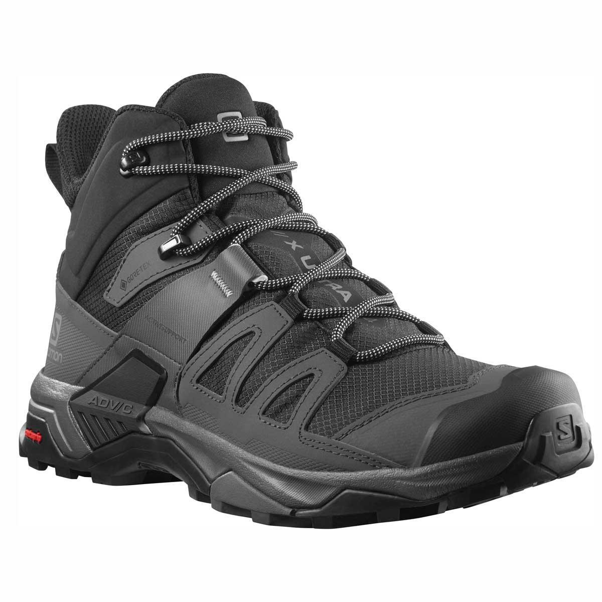 Salomon men's X Ultra 4 Mid GTX hiking shoe in Black and Magnet and Pearl Blue