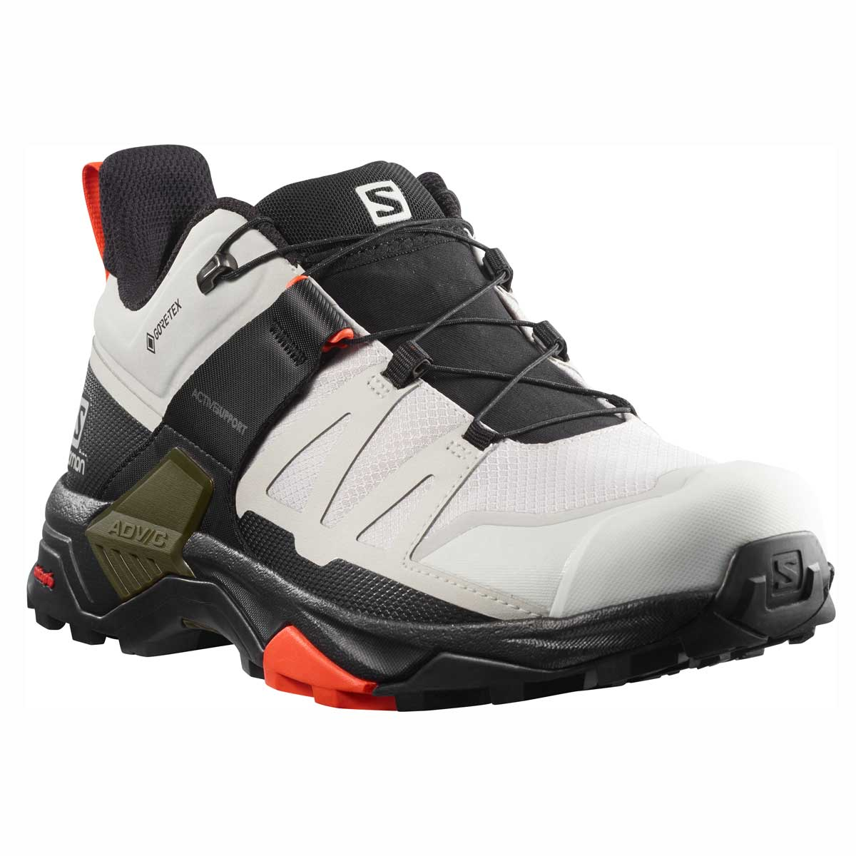 Salomon men's X Ultra 4 GTX hiking shoe in Lunar Rock and Black and Cherry Tomato