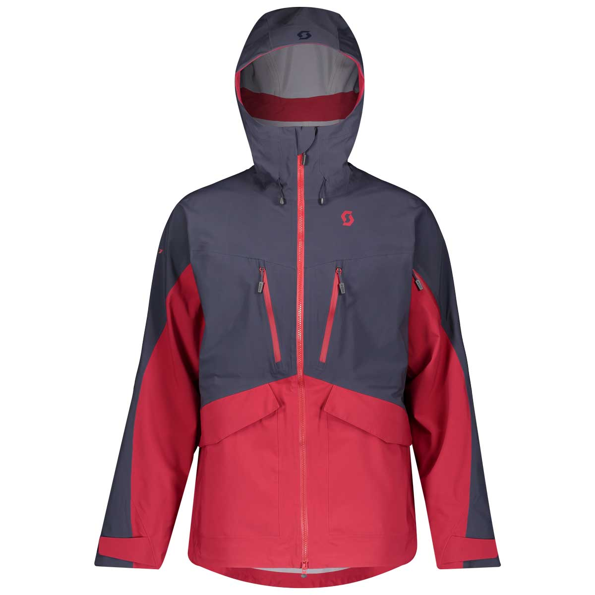 scott men's vertic drx jacket in Blue Nights and Wine Red.