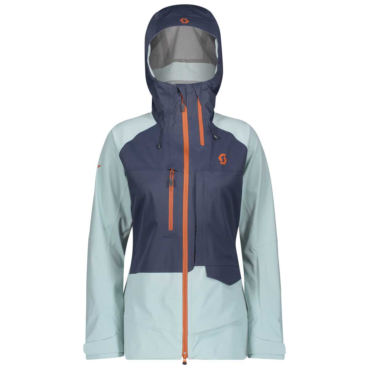 scott women's vertic 3 layer jacket in Blue Nights and Cloud Blue