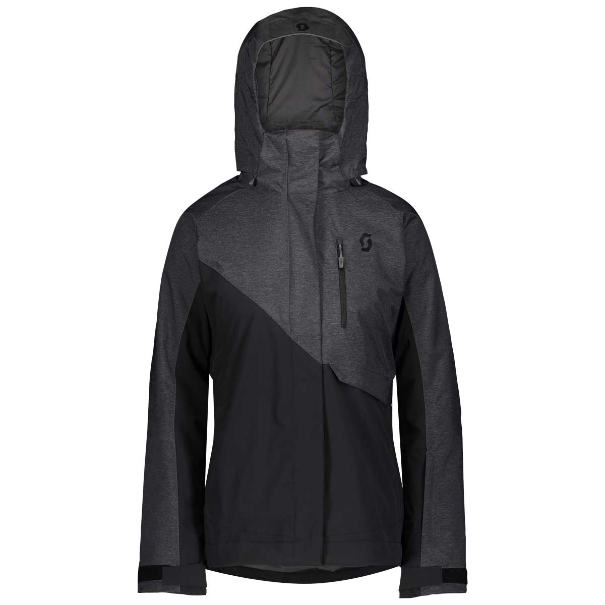 scott women's ultimate dryo 10 jacket in dark grey melange and black