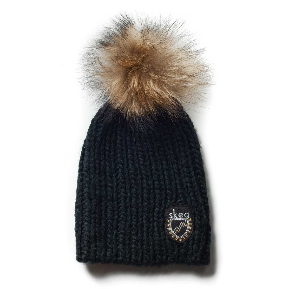 Skea Women's Beets Knit Hat with Fur Pom in Black and Finn Pom
