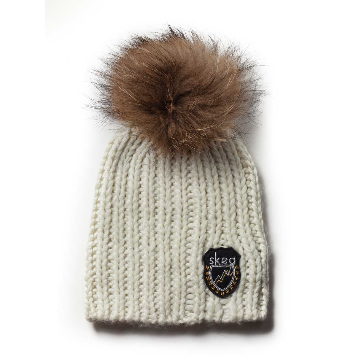 Skea Women's Beets Knit Hat with Fur Pom in Ivory and Finn Pom