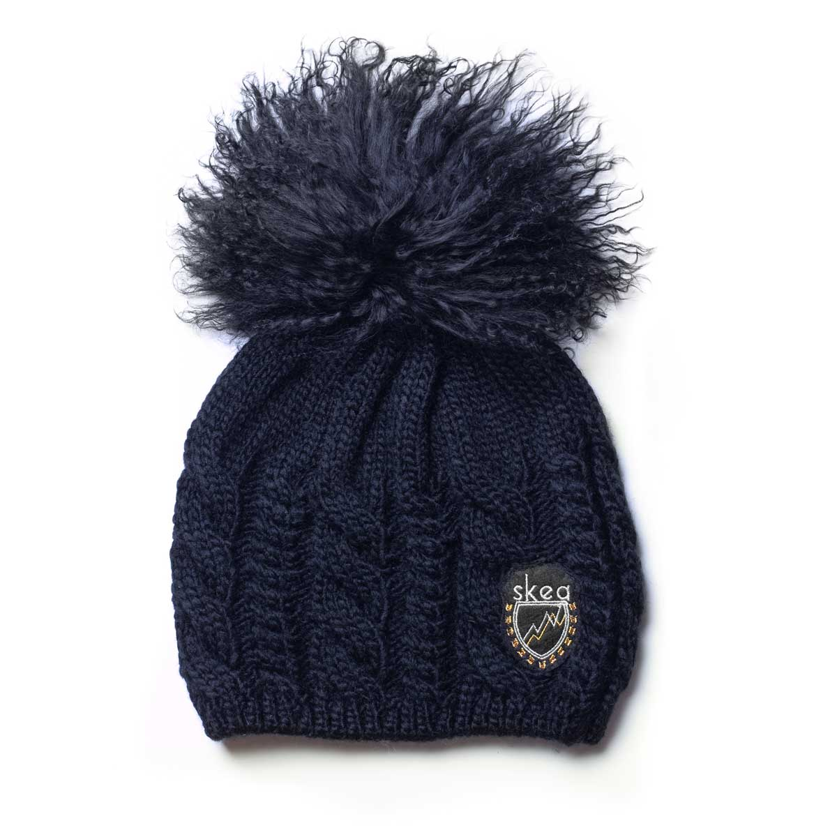 Skea Women's Kelly Hat with Fur Pom in Navy