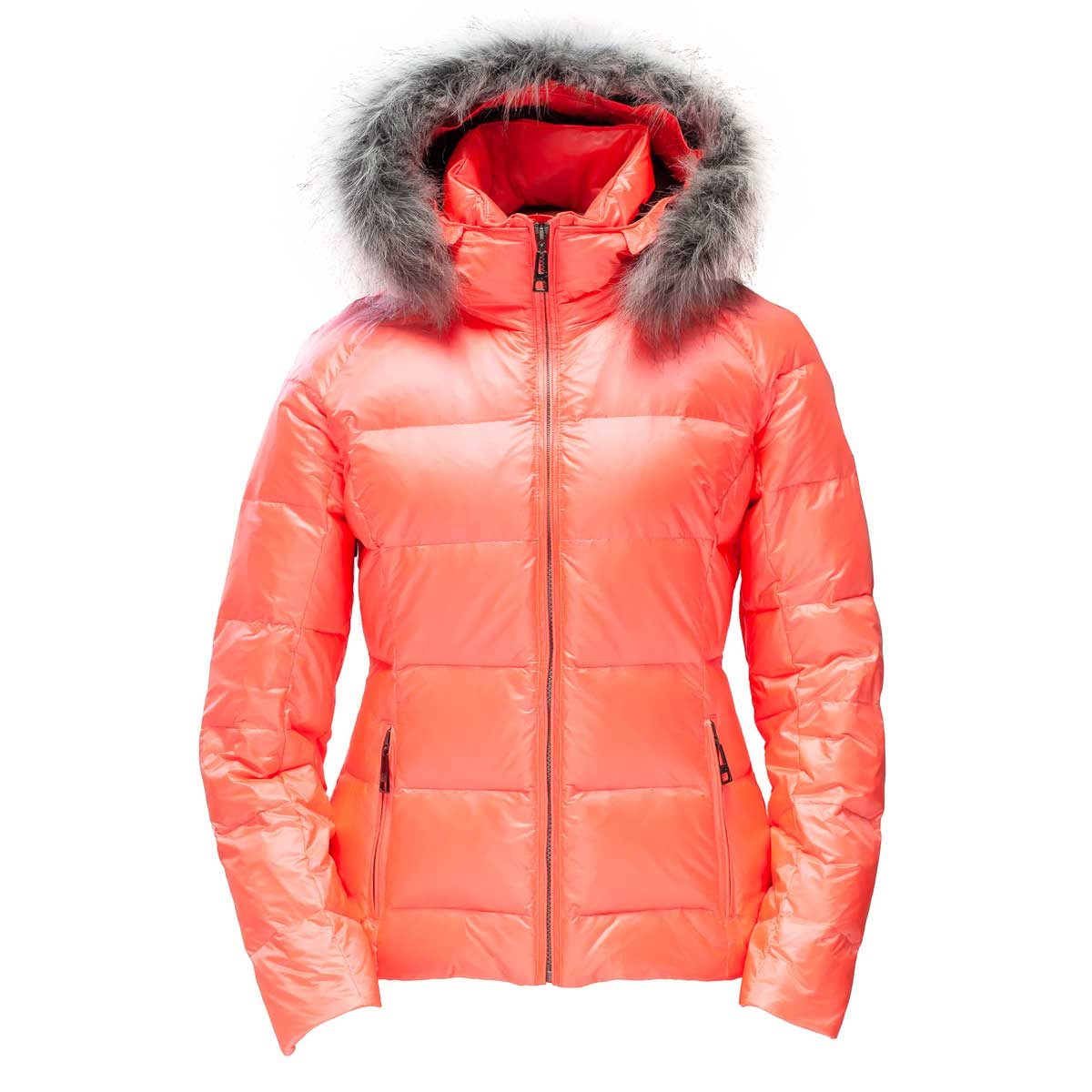 Skea Women's Eve Parka with Faux Fur in Coral and Silver Fox Fur