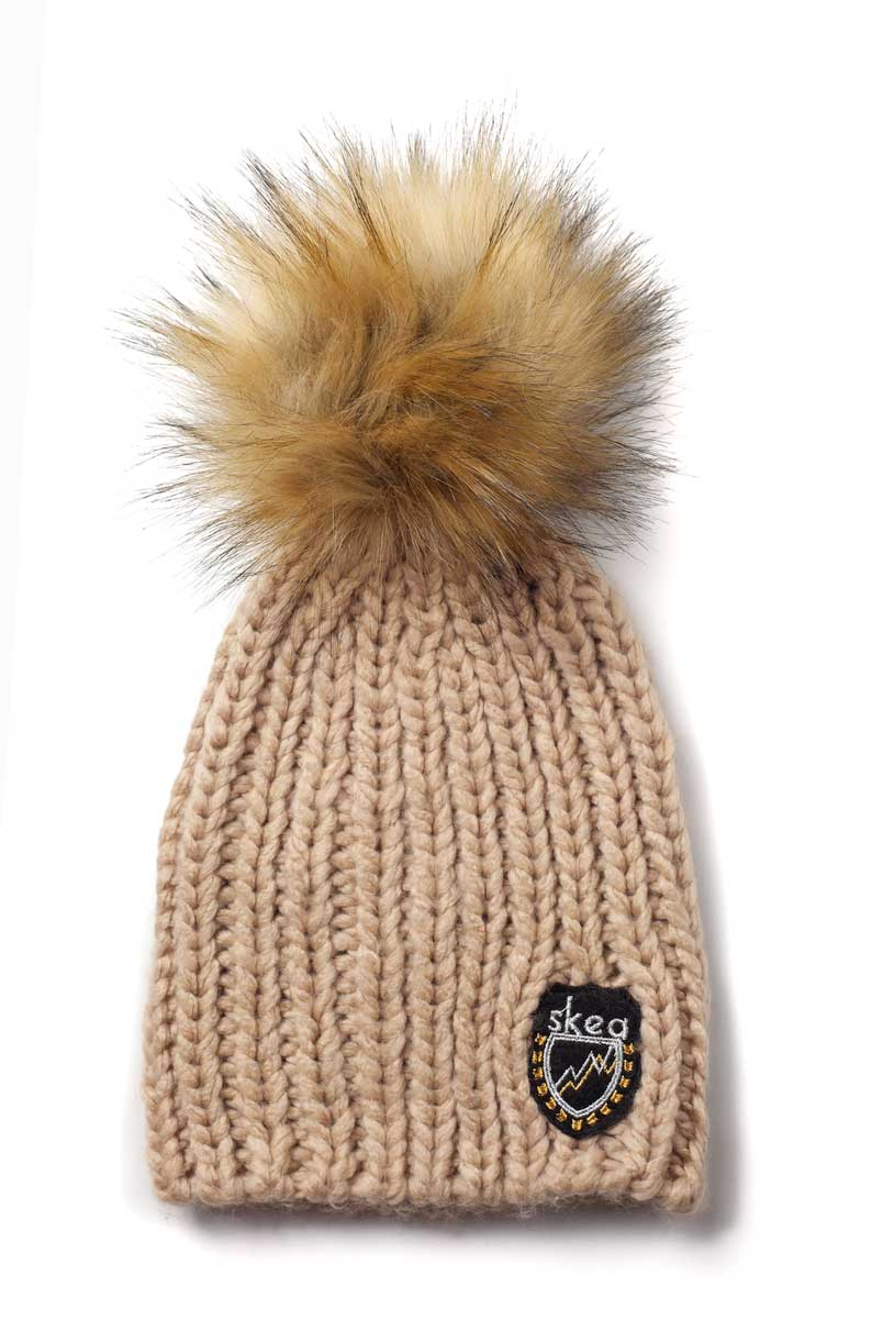 Skea Women's Chard Hat with Faux Fur in Taupe