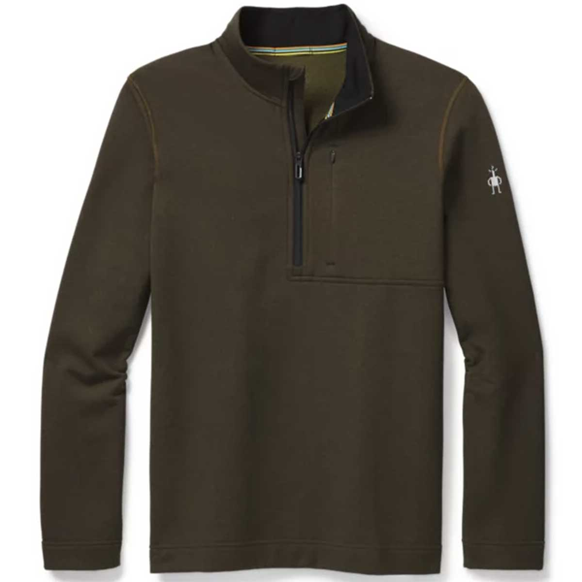 Smartwool men's Merino Sport Fleece 1/2 Zip in Military Olive Heather front view