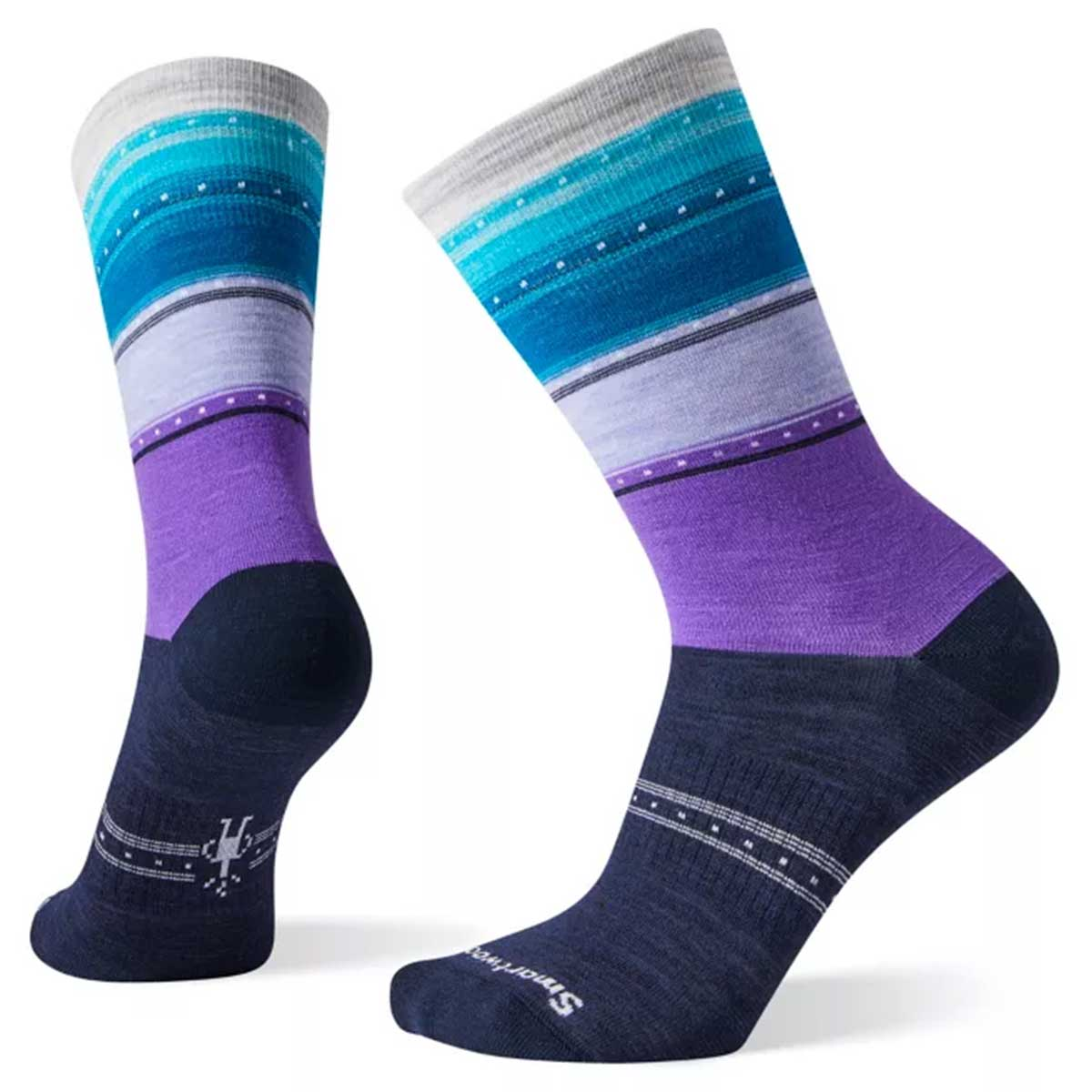 Smartwool women's Sulawesi Stripe Crew Sock in Deep Navy main view