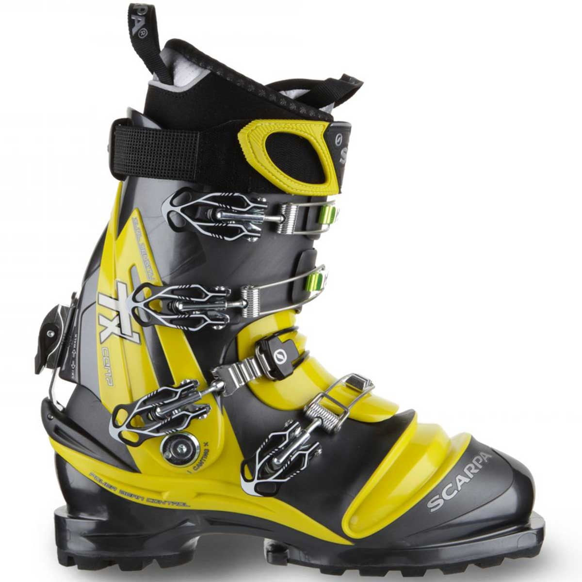Scarpa TX Comp men's Telemark ski boot in anthracite and acid green