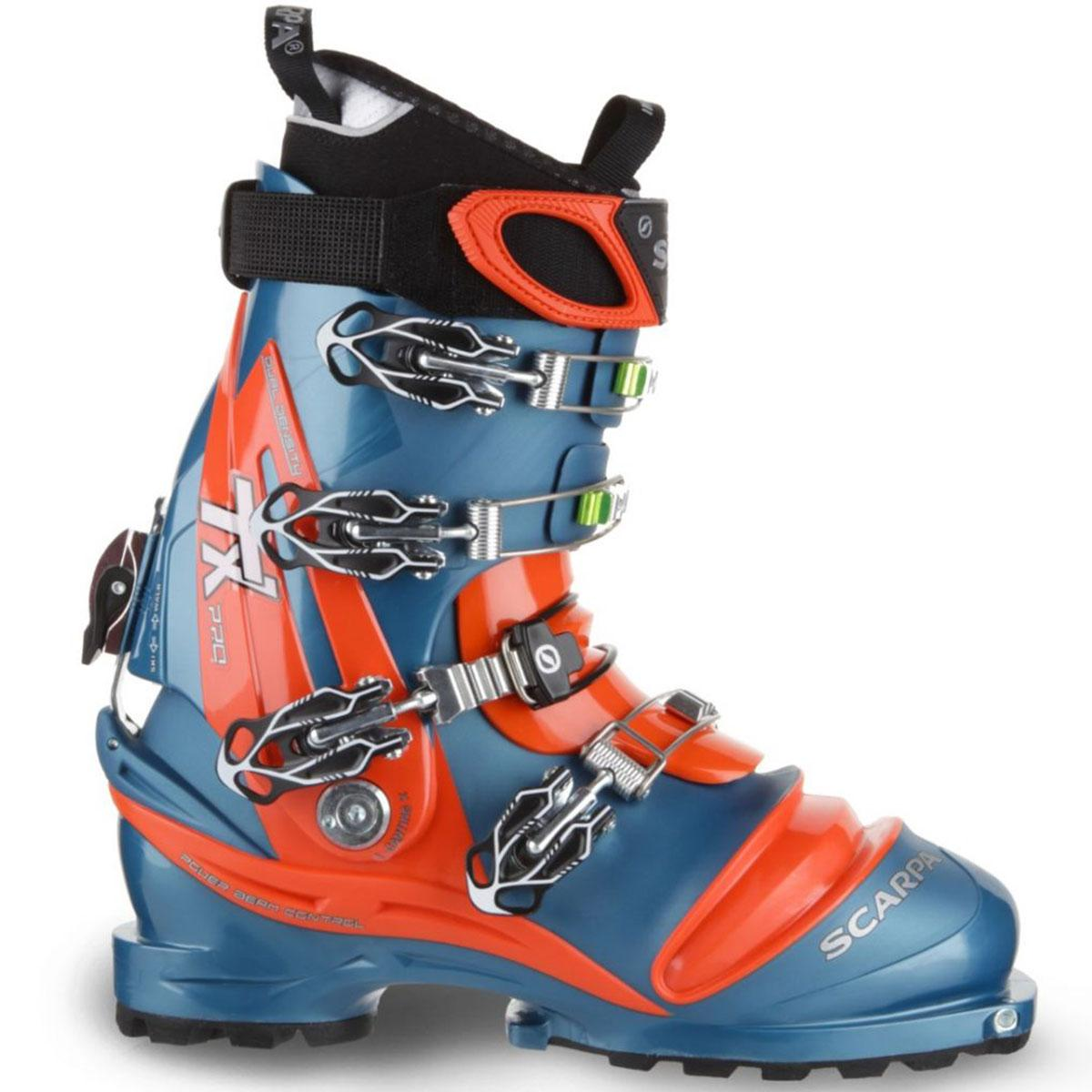 Scarpa TX Pro men's Telemark ski boot in lyons blue and orange