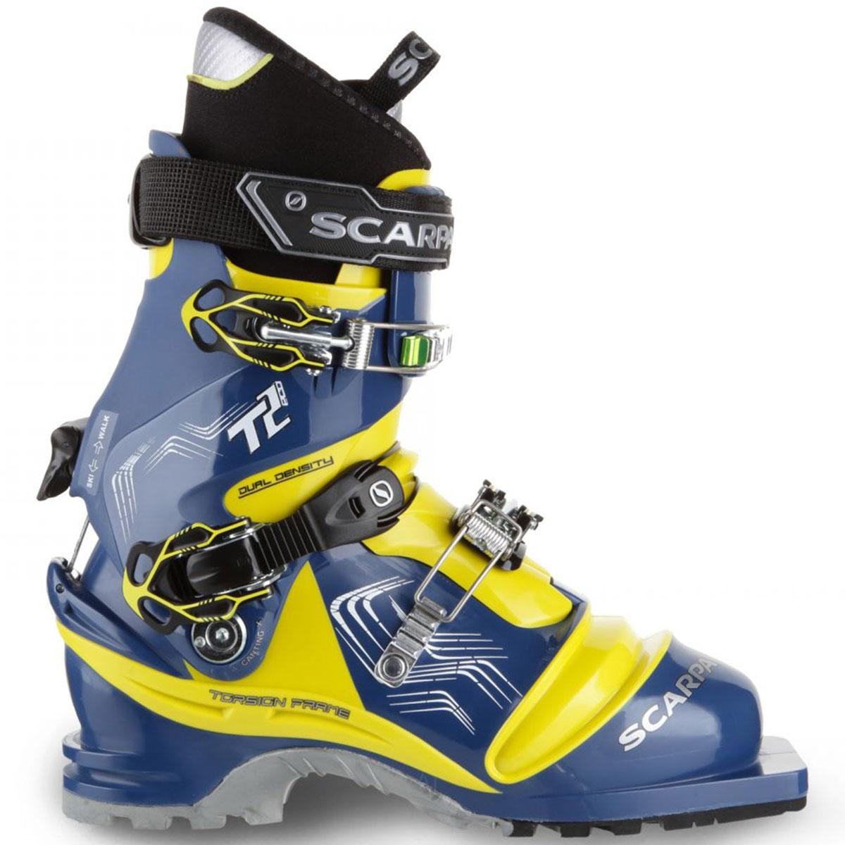 Scarpa T2 Eco men's Telemark ski boot in true blue and acid