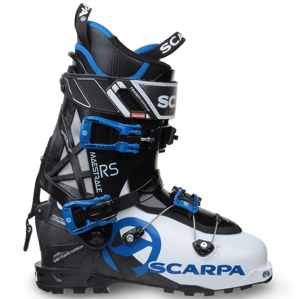 Scarpa Maestrale RS men's alpine touring ski boot in white and black and blue