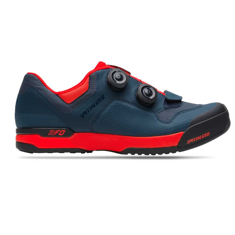 Specialized 2FO Cliplite MTB Shoe in Cast Blue and Rocket Red