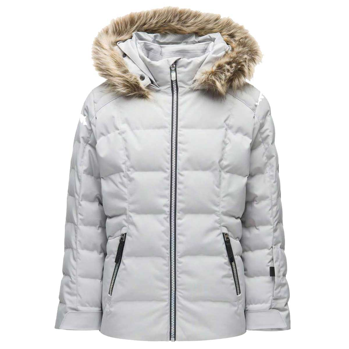 Spyder Girls' Atlas Synthetic Down Jacket in Silver front view