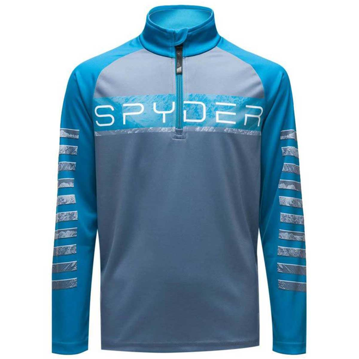 Spyder boys' Limitless Peak Zip T-Neck in Ebony front view