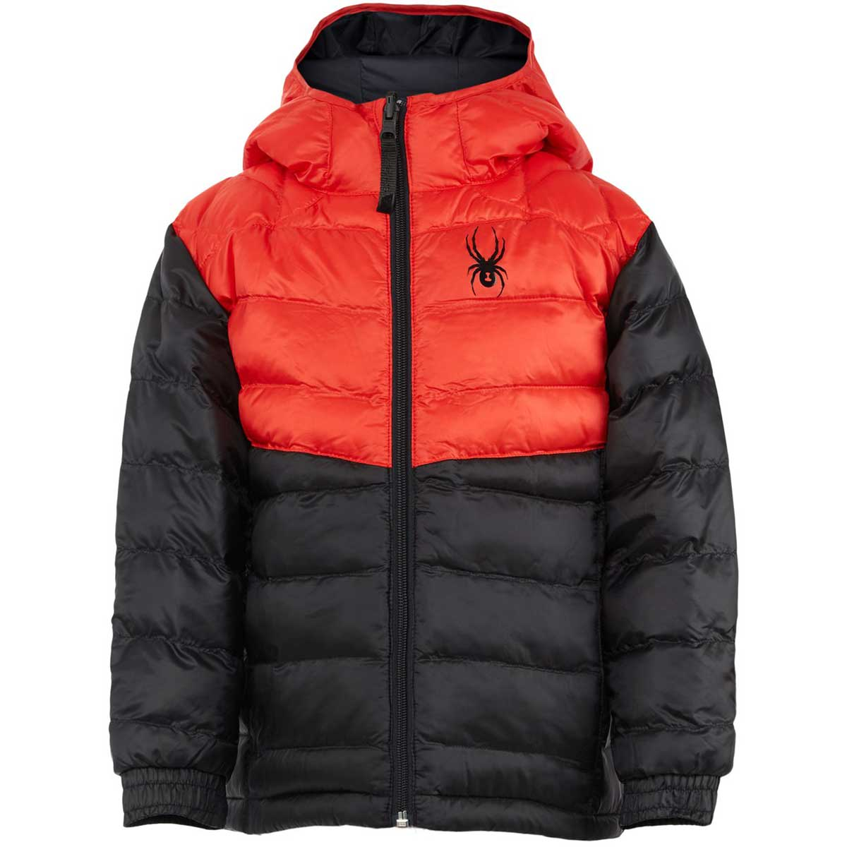 Spyder boys' Mini Timeless Hoodie Down Jacket in Black front view