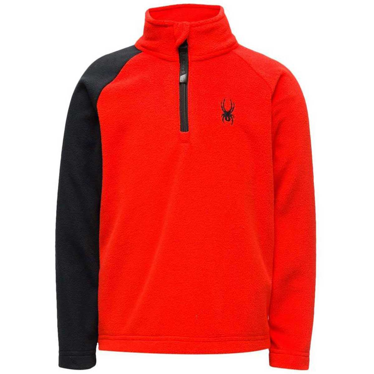 Spyder boys' Mini Speed Fleece Top in Volcano front view
