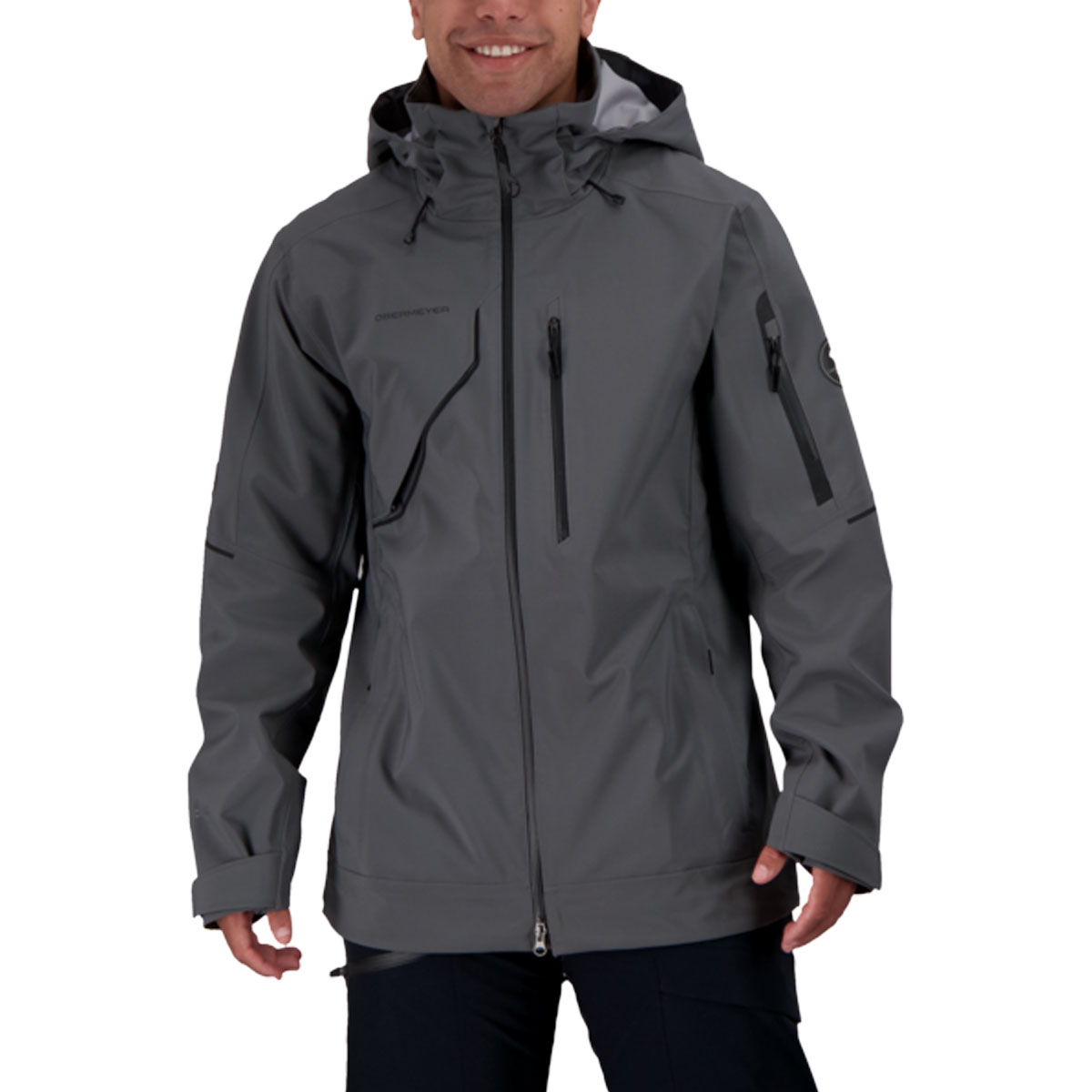 Obermeyer men's Foraker Shell Jacket in Coal front view