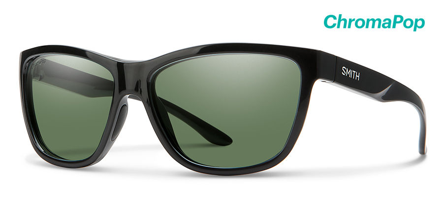 Smith Eclipse Sunglasses Polarized Chromapop in Black with Grey Green main image