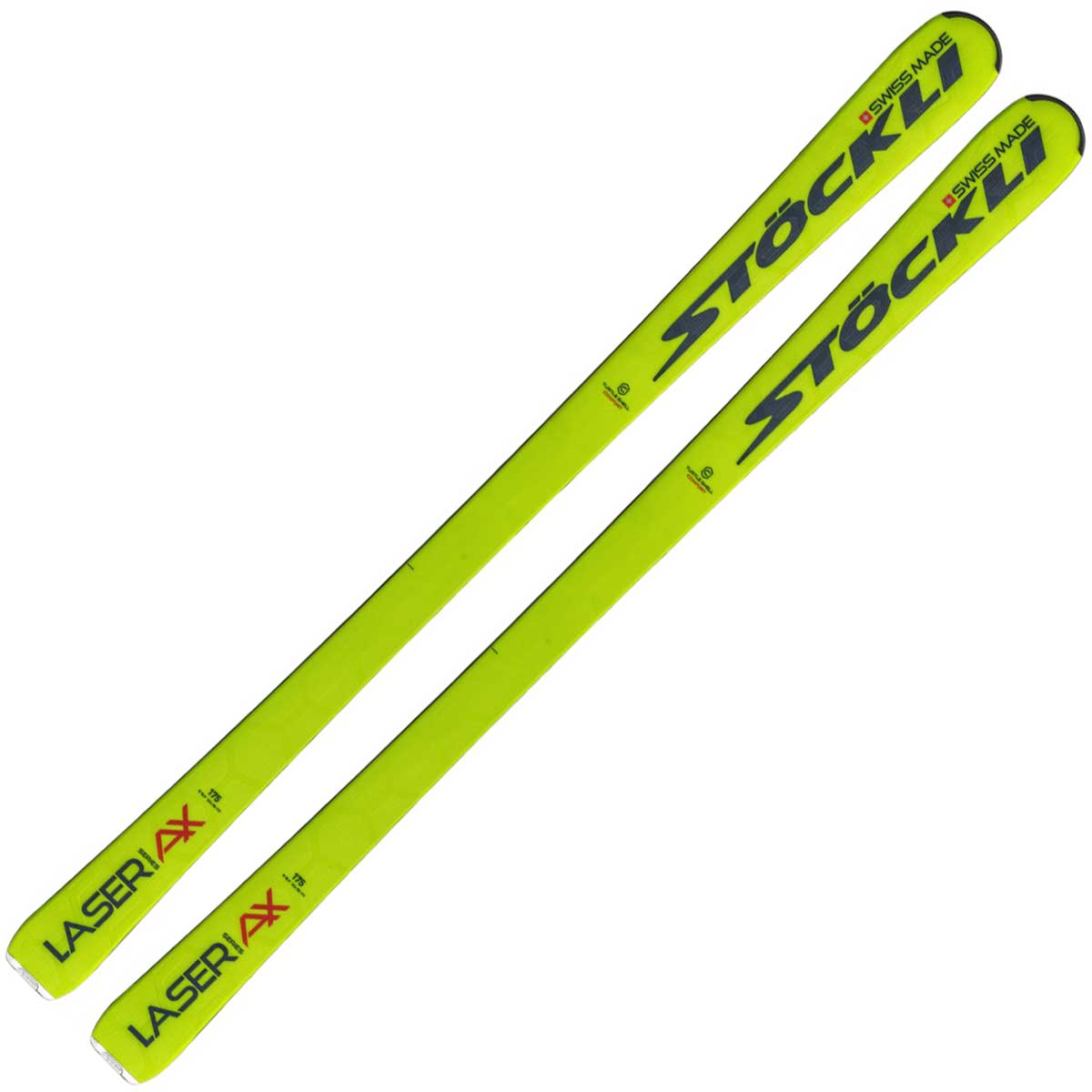 Stockli Laser AX ski in yellow and blue