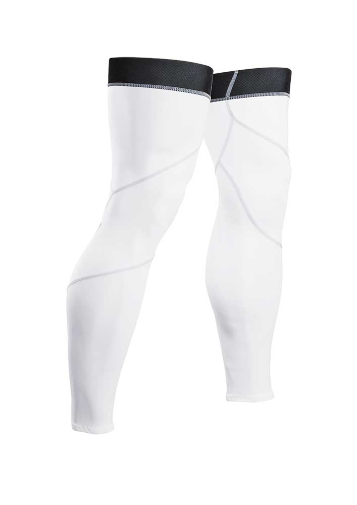 Sugoi Leg Coolers calf sleeves in white with black elastic on top