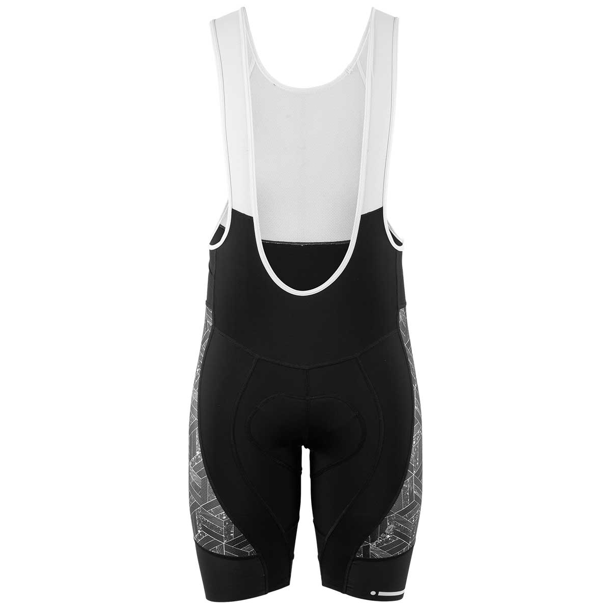 Sugoi men's RS Pro bib shorts in Brix, with black body, white suspender straps, and a geometric side panel pattern
