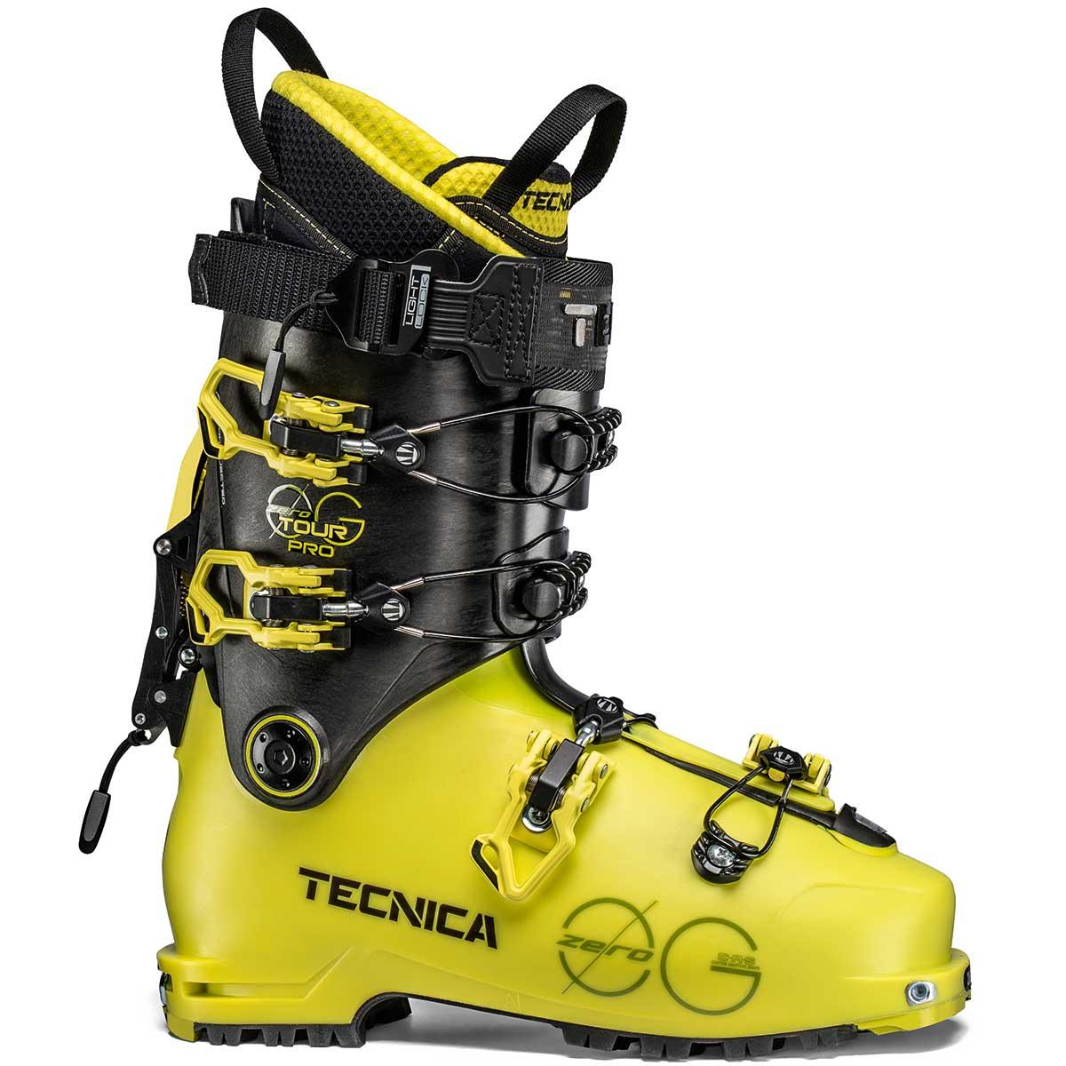 Tecnica Zero G Tour Pro men's ski boot in bright yellow and black